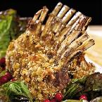 Hazelnut Crusted Rack of Lamb with Cherry Wine Sauce