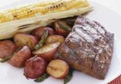 Barbecued Flank Steak with Roasted Vegetables and Corn