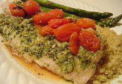 Tilapia with Lemon Pesto and Roasted Tomatoes