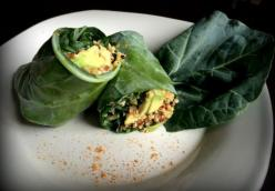 Mexi Quinoa Collard Wrap with Avacado and Chili Con Queso
