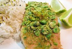 Crunchy wasabi crusted salmon with lime