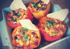 Chili Corn Stuffed Bell Peppers
