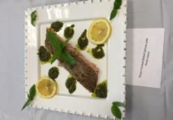 Pecan Crusted Baked Salmon with Pesto Sauce By Rosalina Cheesman