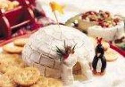 Igloo Cheese Ball With Cream Cheese Penguins