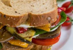 Veggie Club Sandwich with Herbed Potato Wedges