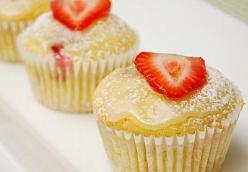 Glazed Lemon Strawberry Muffins