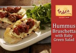 Hummus Bruschetta with Baby Greens Salad