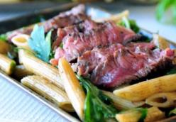 Penne Rigate Pasta Salad with Rib Eyes Steak and Balsamic Herb Dressing