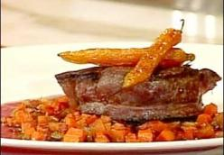 Beef Tenderloin w/ Bordelaise Sauce, Caramelized Carrots and Shallots