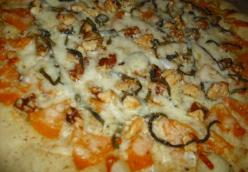 Pumpkin Pizza with Saged Brown Butter with Walnuts, topped with Pecorino Romano and Sage Chiffonade