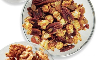 SPICED PECANS, RAISINS AND POPCORN
