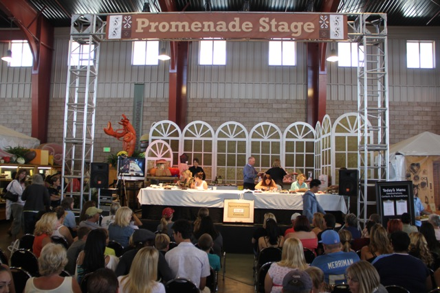 The stage! I'm the last on the right (stage left). To my right is @FastFoodMaven, @TwoPartsSugar & @CupcakeActivist