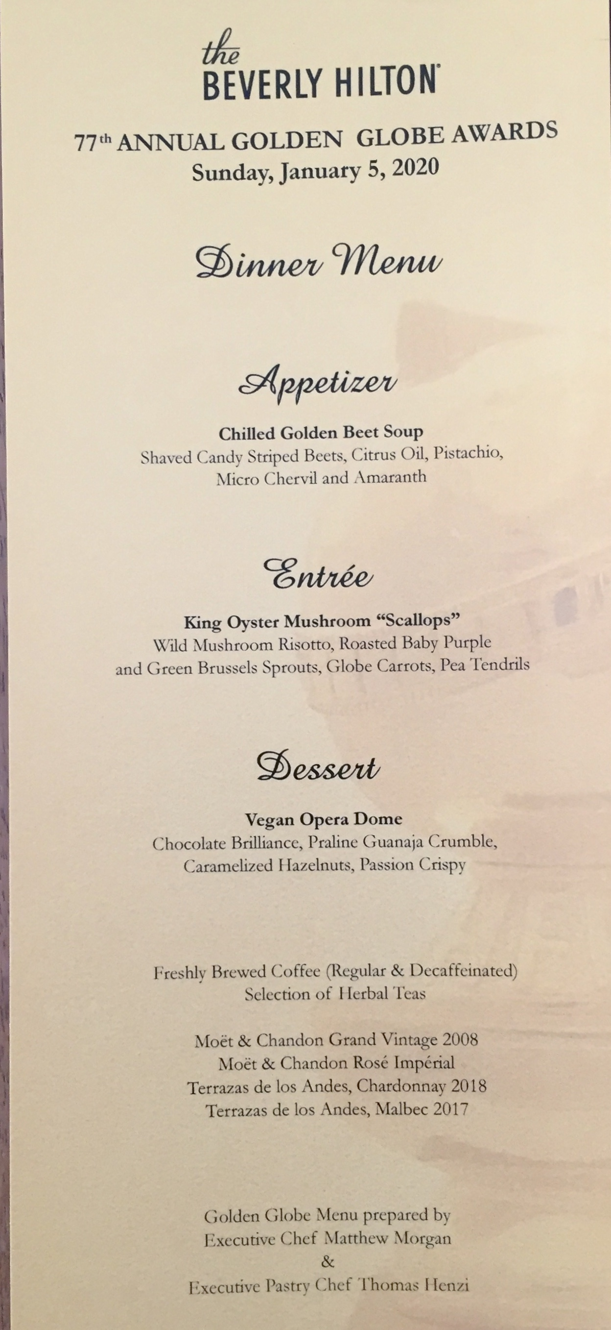 Golden Globes Plant-based menu