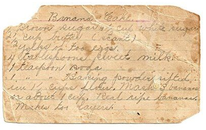 Banana Bread Vintage Recipe Card